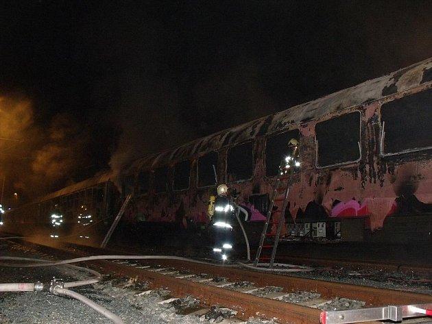 Požár vagonu na nádraží v brněnských Horních Heršpicích.
