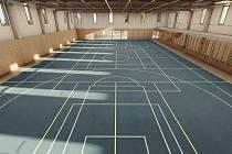 Plánovaná sportovní hala při základní škole v Rajhradě.