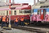 Brno 5.3.2019 - srážka vlaků na hlavním nádraží v Brně.