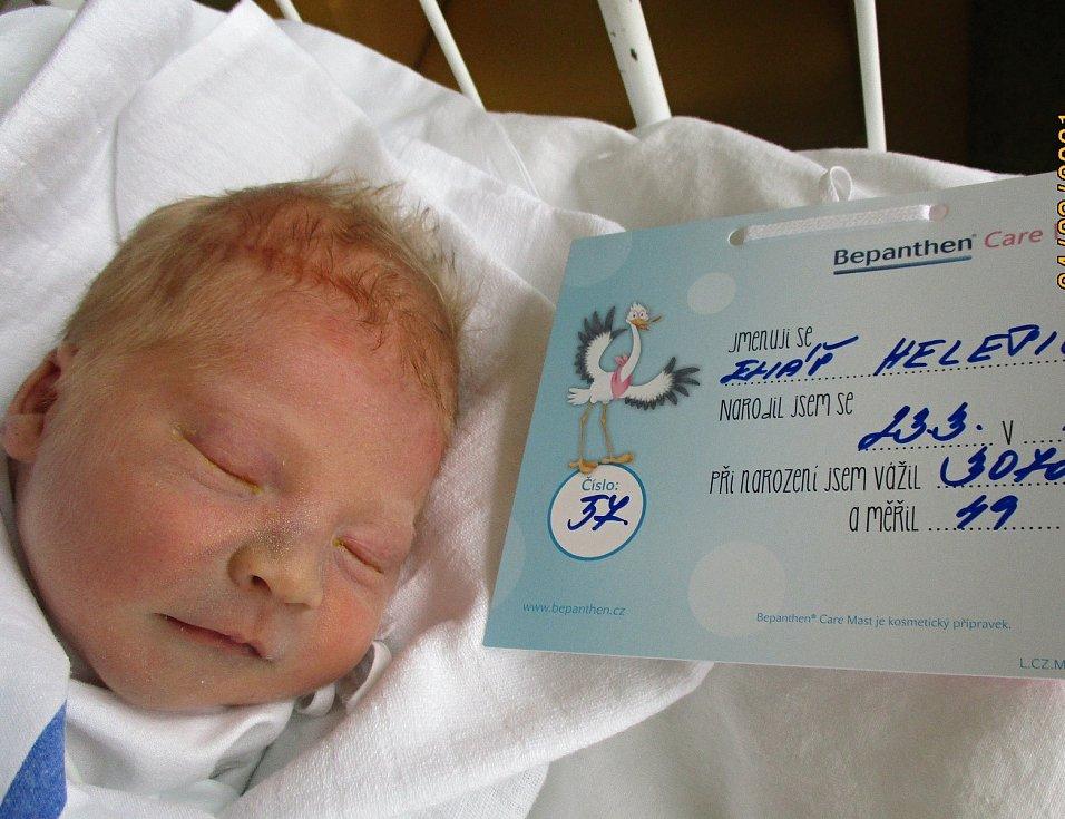 Eliáš Helešic, 23. 3. 2021, Velké Bílovice, Nemocnice Břeclav, 3070 g, 49 cm