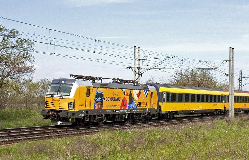 Vlak RegioJetu, kterým cestující zamíří z jižní Moravy do Chorvatska.