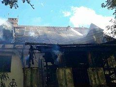 Šest jednotek hasičů zaměstnal ve čtvrtek večer požár budovy v Rybnické ulici v brněnském Novém Lískovci.