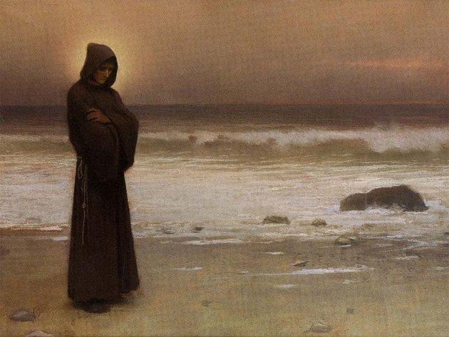 Obraz Kontemplace z roku 1893 zachycuje mnicha na mořském pobřeží.