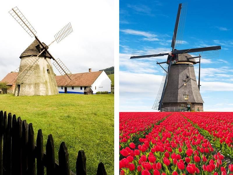 Větrné mlýny v Kuželově na Hodonínsku a v Holandsku.