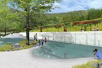 Nástupní terasa v budoucím Parku Kamenný vrch v brněnském Novém Lískovci podle vítězné studie od ateliéru Zahrada Olomouc.