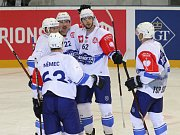 Hokejisté brněnské Komety (v bílém) podlehli Liberci ve 23. kole extraligy 3:4.