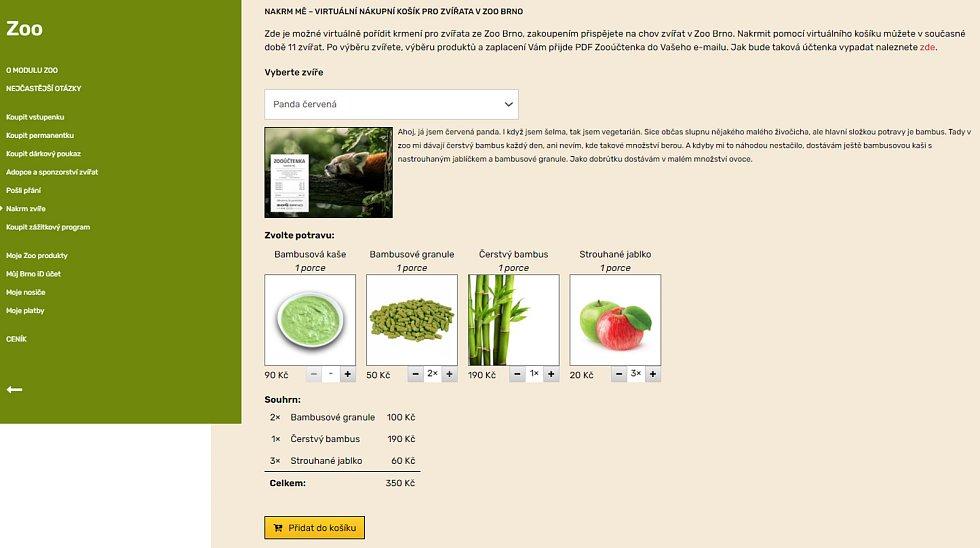 Lidé mohou nově brněnskou zoo podpořit nákupem jídla pro zvířata ve virtuálním supermarketu.