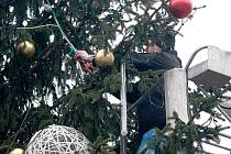 Odstrojování vánočního stromu na náměstí Svobody v Brně.