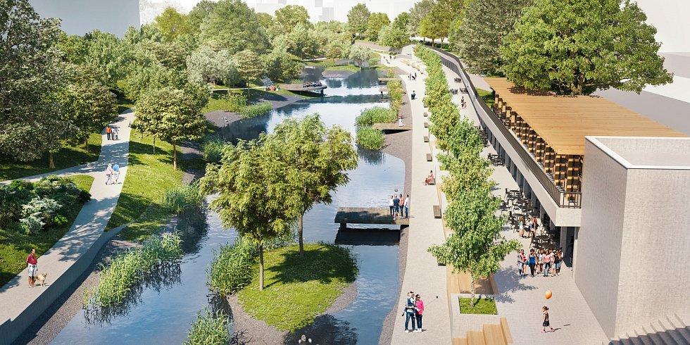 Chystanou revitalizace nábřeží Svratky mezi Riviérou a viaduktem v Uhelné ulici doplní nová lávka.