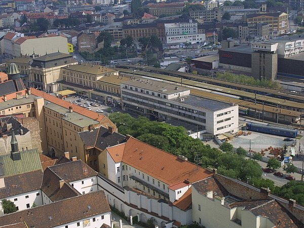 Ilustrační: Brno-hlavní nádraží ze vzduchu