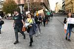 Třicítka účastníků pochodu chtěla upozornit na kácení deštných pralesů.