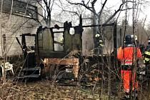 Požár chatky v brněnských Maloměřicích.