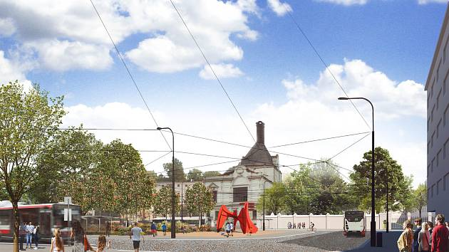 Podoba Mendlova náměstí v Brně po částečných úpravách.