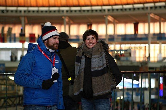 Petr Frydrych v zóně Deníku na Olympijském festivalu v Brně.