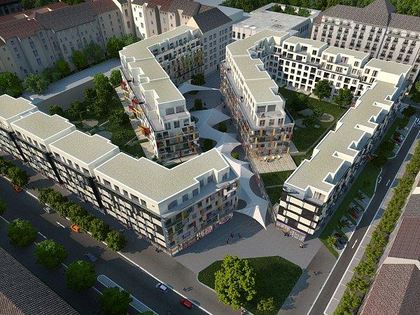 Vizualizace nového bytového bloku mezi brněnskými ulicemi Veveří a Kounicova. Ilustrační foto.