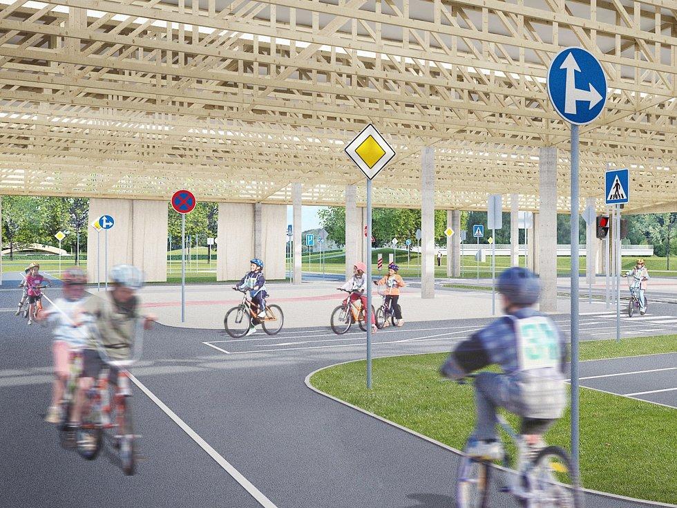 Vizualizace největšího dopravního hřiště v České republice, které bude v areálu brněnské Riviéry.