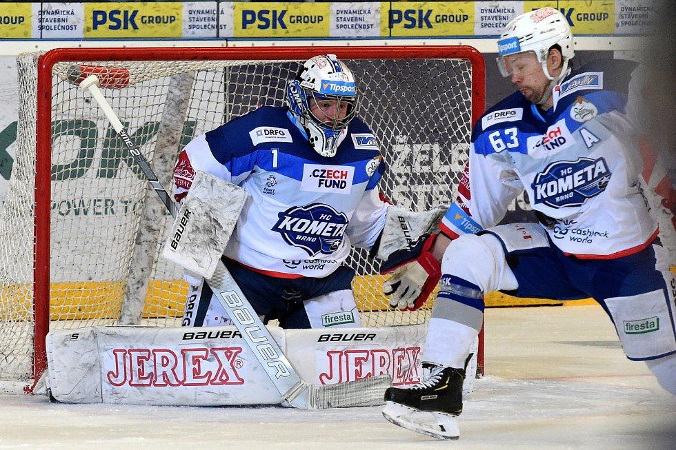 HC Kometa Brno v bílém (Marek Čiliak a Ondřej Němec) proti HC Vítkovice