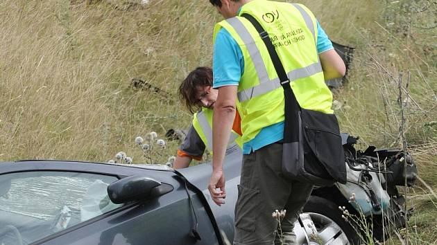 Nehoda osobního auta v Pohořelicích.