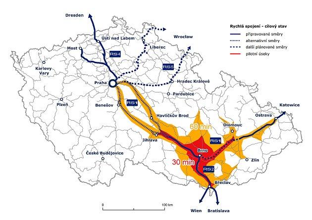 Trasy plánovaných vysokorychlostních tratí vČeské republice.
