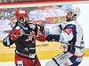 Finále play off hokejové extraligy - 2. zápas: HC Oceláři Třinec vs. HC Kometa Brno, 15. dubna 2018 v Třinci. (vlevo) Linhart Tomas a Čermák Leoš.