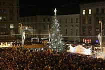 Symbol brněnských Vánoc, šestnáctimetrová jedle ojíněná, na náměstí Svobody.