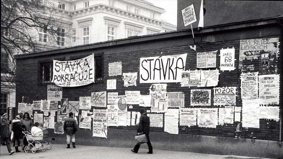 V listopadu 1989 demonstrovalo i Brno. Kromě řady protestů se uskutečnila i generální stávka.