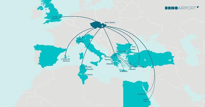Turisté létají k moři z brněnského letiště nejčastěji do turecké Antalye či na Heraklión na Krétu. Letadla míří i do dalších destinací.