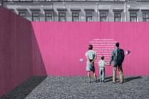 Vizualizace dočasného pavilonu pro oživení veřejného prostoru s využitím šesti dopravních kontejnerů. V soutěži uspěl návrh Barbory Juríčkové a Olivera Kažimíra z VUT.