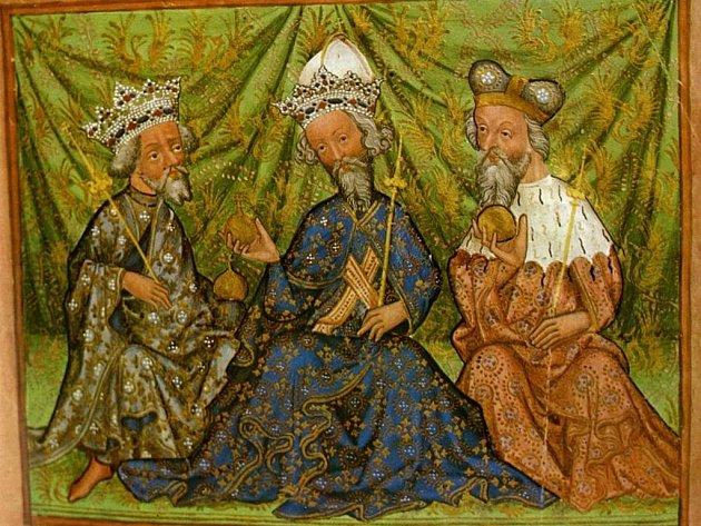 Iluminace z Památné knihy olomoucké z roku 1430. Markrabě Jošt je napravo.