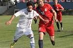 Blanenští fotbalisté (v červeném) podlehli brněnské Líšni 0:1.