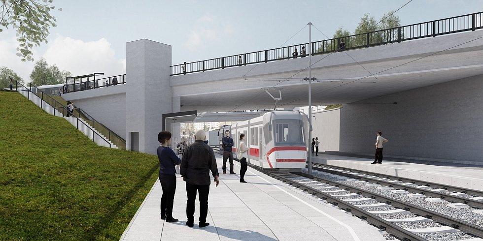 Budoucí podoba zastávky Osová na tramvajové trati k univerzitnímu kampusu.