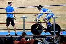 Dráhoví cyklisté brněnské Dukly Martin Čechman a Pavel Kelemen v kvalifikaci sprintu na mistrovství světa v německém Berlíně.