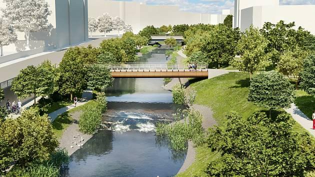 Vizualizace: Chystanou revitalizace nábřeží Svratky mezi Riviérou a viaduktem v Uhelné ulici doplní nová lávka.