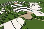 Plánovaný lázeňský komplex v Pasohlávkách. Celkový pohled.