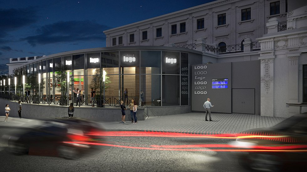 Budoucí podoba levého křídla výpravní budovy brněnského hlavního nádraží. Vizualizace: Brno new station development