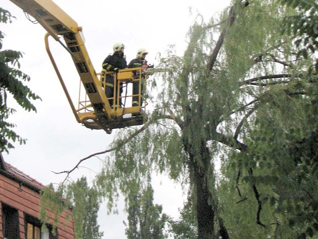 Hasiči likvidovali i některé větve, které ohrožovaly kolemjdoucí.