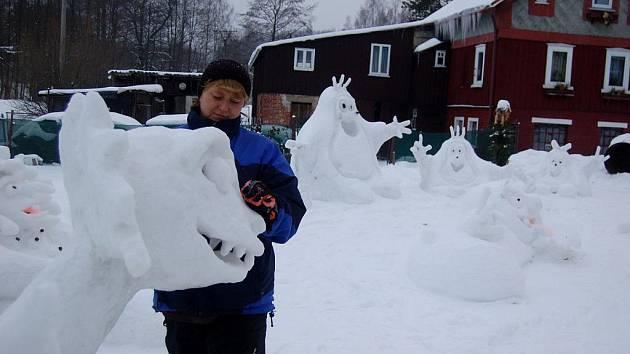 Ledové sochy v Bublavě.