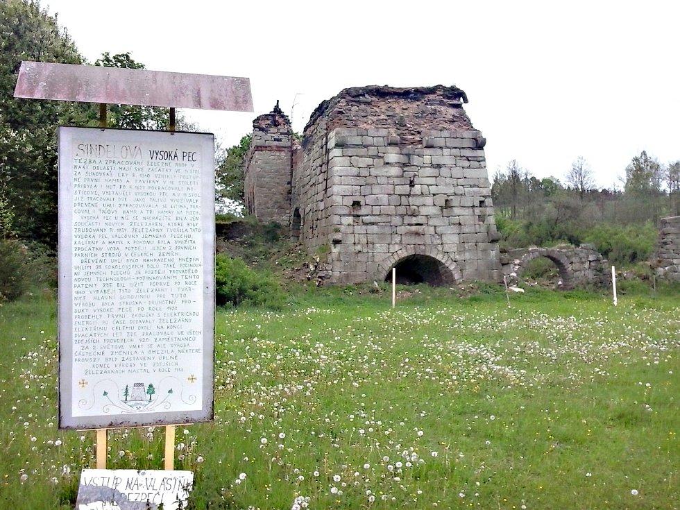 Vysoká pec v Šindelové.