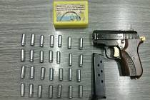 Zajištěná plynová pistole.