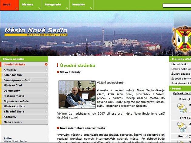 Náhled oficiálního webu Nového Sedla.