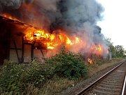 Požár nádražní budovy v Kraslicích na Sokolovsku.