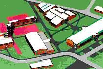 STUDIE naznačuje, co by v areálu mohlo být. Zatím však nejde o definitivní podobu plánovaného centra.