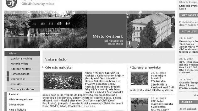 Úvodní stránka oficiálního webu Kynšperka nad Ohří.