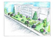 VIZUALIZACE nové podoby parku u základní školy. Mezi ostrůvky keřů se bude dát procházet