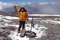 Dora Pokorová Vaňourková na vrcholu Aconcaguy, 6 962 m n.m.