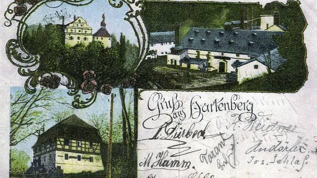 DOBOVÁ pohlednice ukazuje, jak v minulosti vypadal hrad Hartenberg a jeho blízké okolí.