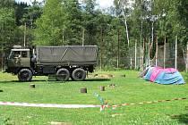Vodácké tábořiště v Tovární ulici v Lokti.