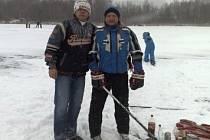 Roman Galeja a Dušan Šafář, hokejisté HC Vřesová při tréninku v Dolním Rychnově