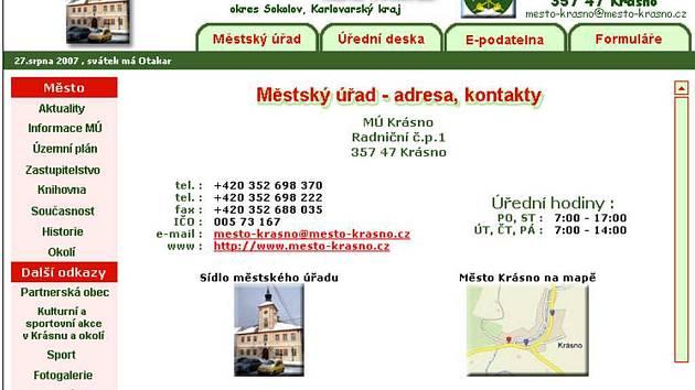 Internetové stránky města Krásno.