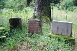SRBSKÝ HŘBITOV dnes připomíná velký kříž a několik malých náhrobků. Kolem jsou také patrné betonové sloupky z původního oplocení.